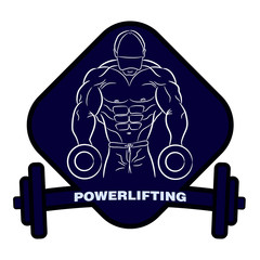 Muscular bodybuilder with dumbbells. Strong man. Powerlifting logo, emblem of the gym. Logo sport nutrition, sign strength. T-shirt design. Brush. Vector body building  AI10
