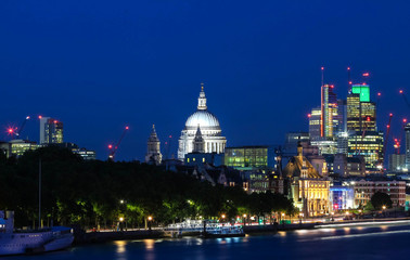 The view of the dome of Saint Paul's Cathedral at night, City of London.