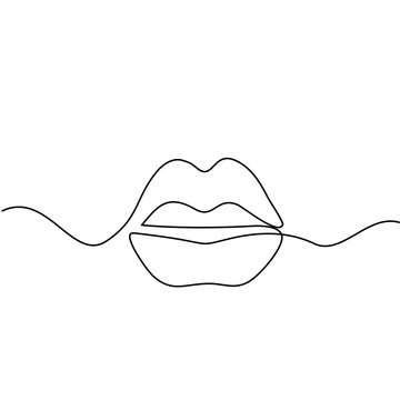 Continuous line drawing. Beautiful Woman lips logo. Black and white isolated outline vector illustration. Concept for logo, card, banner, poster, flyer