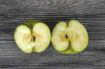 green apple pictures divided into two parts,