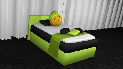 putziges Emoticon schläft im apfelgrünem  Boxspringbett.