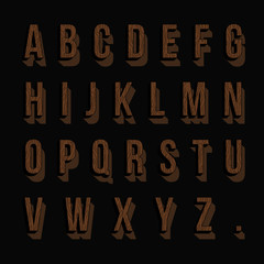 Set of wood alphabet letters. Vector illustration.