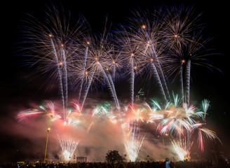"""Fireworks illuminate the sky during the """"Navalnitsa-2017"""" international fireworks festival in Logoisk"""