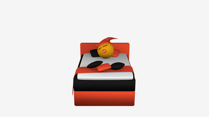 Emoticon mit Schlafmütze und Schnuller schläft im orange-schwarzem Boxspringbett