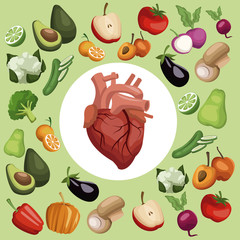 color background with pattern vegetables and fruits healthy food set with circular frame heart organ in center vector illustration