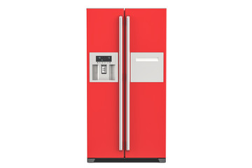 Red fridge with side-by-side door system, 3D rendering