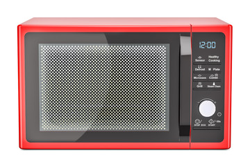 red microwave oven, 3D rendering