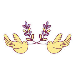 cute doves animal with branches to peace symbol