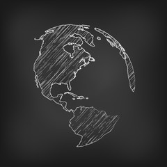 Vector globe icon of the world. pencil sketched
