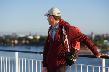 Tourist on a deck of cruise ship