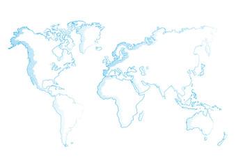 vector illustration world map pencil sketched