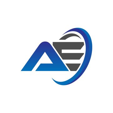 vector initial logo letters ae with circle swoosh blue gray