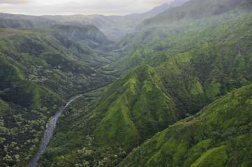 Hanalei Valley and river, Kauai, Hawaii