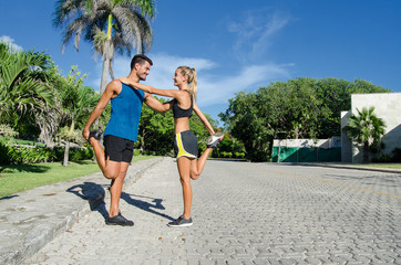 warm-up in couple before jogging