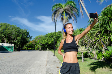 fitness girl taking selfie photo