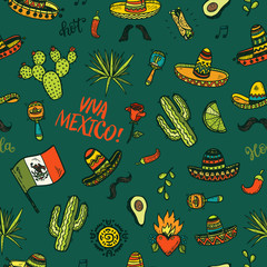 Vector seamless background with hand drawn colored Mexican elements. Independence day, Cinco de mayo celebration, party doodle decorations for your design.