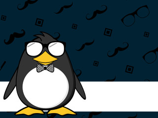 cute little hipster penguin baby cartoon expression background  in vector format very easy to edit