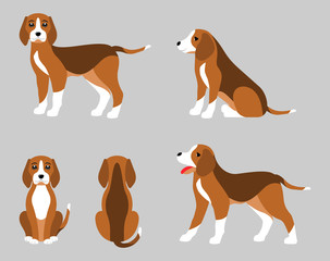Various Poses of Dog Beagle, Simple Flat Style