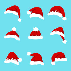 Set Santa Hats Isolated on Blue Background, Collection Different Christmas Caps
