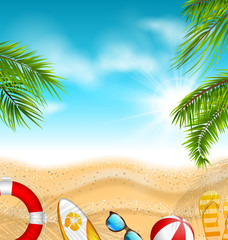 Beautiful Banner with Palm Leaves, Beach Ball, Flip-flops, Surf Board
