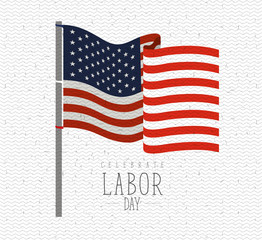 colorful background with zigzag lines of celebrate labor day with american flag waving in pole