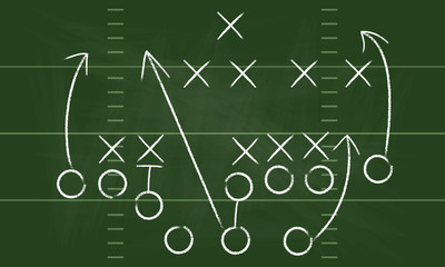 Vector Football Play. Football America. NFL American football formation tacticson. American football field tactics. Touchdown.
