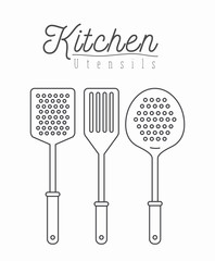 white background with silhouette set collection kitchen utensils