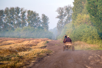 A man is riding a cart near the field