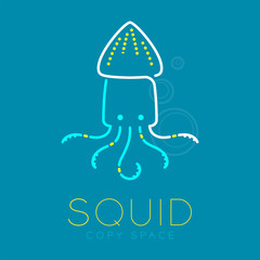 Squid and Air bubble logo icon outline stroke set dash line design illustration blue white and yellow color isolated on blue background with Squid text and copy space, vector eps10