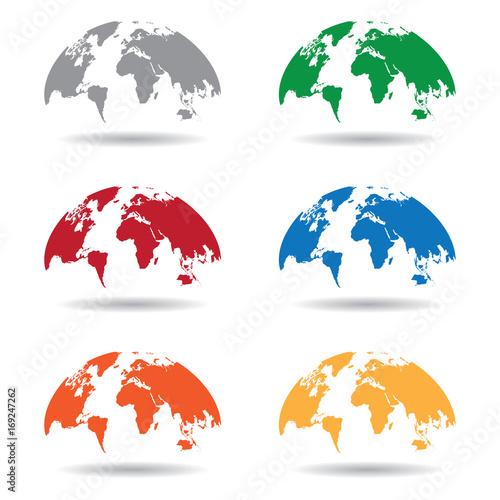 World Map Globe Isolated On White Background Vector Unique World - World map shape