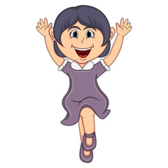 A girl jump cartoon