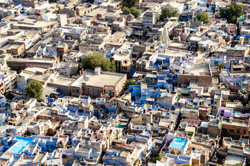 Blue city from above India