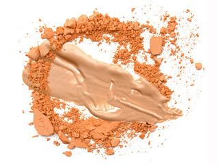 Beige foundation make up with crushed powder isolate