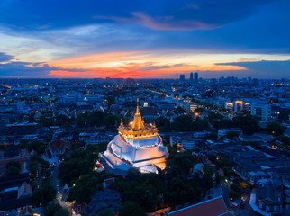 Golden Pagoda called Golden Mountain temple the public temple in Bangkok , The most tourist destination landmark in Bangkok Thailand,Bangkok is the most populated city in Southeast Asia.