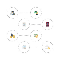 Flat Icons Act, Deadline, Paper And Other Vector Elements. Set Of Accounting Flat Icons Symbols Also Includes Act, Dollar, Payment Objects.