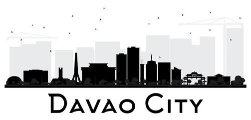 Davao City skyline black and white silhouette.