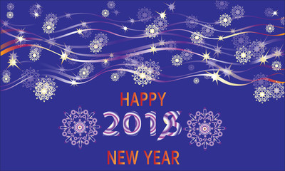 Glitter of New Year's lights in the sky. Happy new year. Design a Christmas greeting card, invitations to festive new year's eve.