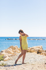 Foto op Aluminium Cyprus happy young woman posing on the beach of sea