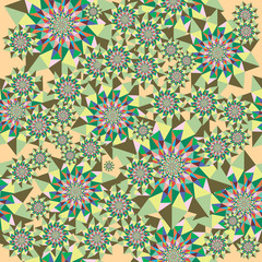 Multicolored mandalas on an orange background