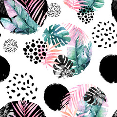 Papiers peints Aquarelle la Nature Abstract natural seamless pattern inspired by memphis style.