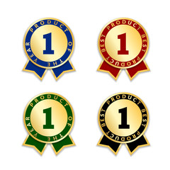 Ribbons award best product set. Gold ribbon award icon with number one isolated on white background. Best product golden label for badge, medal, guarantee quality product Vector illustration