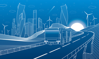 Wall Mural - Highway in mountains. Bus rides over the overpass. Tower and skyscrapers, modern city, business buildings. Night scene. White lines on blue background. Windmills power. Vector design art