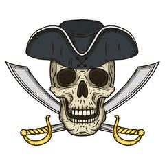 Vector Single Cartoon Pirate Skull in hat with Cross Swords.