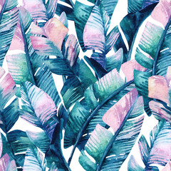 Foto op Canvas Aquarel Natuur Watercolor banana leaf seamless pattern.