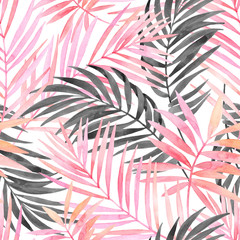 Fotobehang Aquarel Natuur Watercolour pink colored and graphic palm leaf painting.
