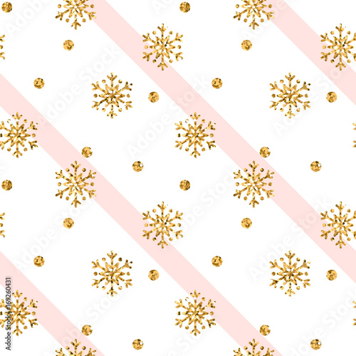 Christmas gold snowflake seamless pattern. Golden snowflakes on pink ...