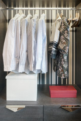 Modern style wardrobe with shirts and dress inside