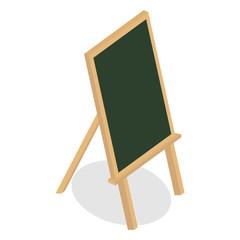 School blank boards. Wooden frame board and chalk board on tripod