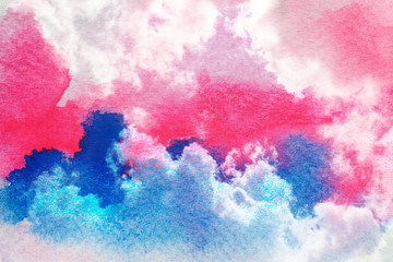 Watercolor clouds and sky background.