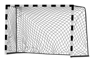 Soccer goal vector. Handball vector construction with net. Footsal goal.